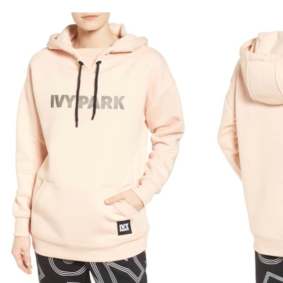 8585a5a82ae57f IVY PARK Tops - IVY PARK Pink Logo Silicone Hoodie Sweatshirt M